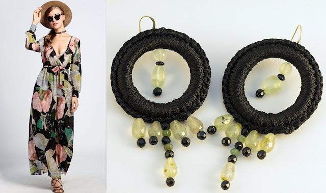Orecchini a crochet neri con prehnite, agata nera e onice