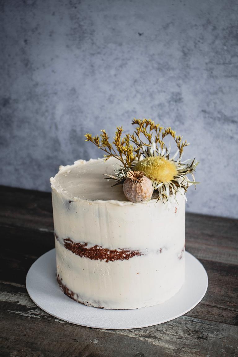 Die Torte in Frontalansicht