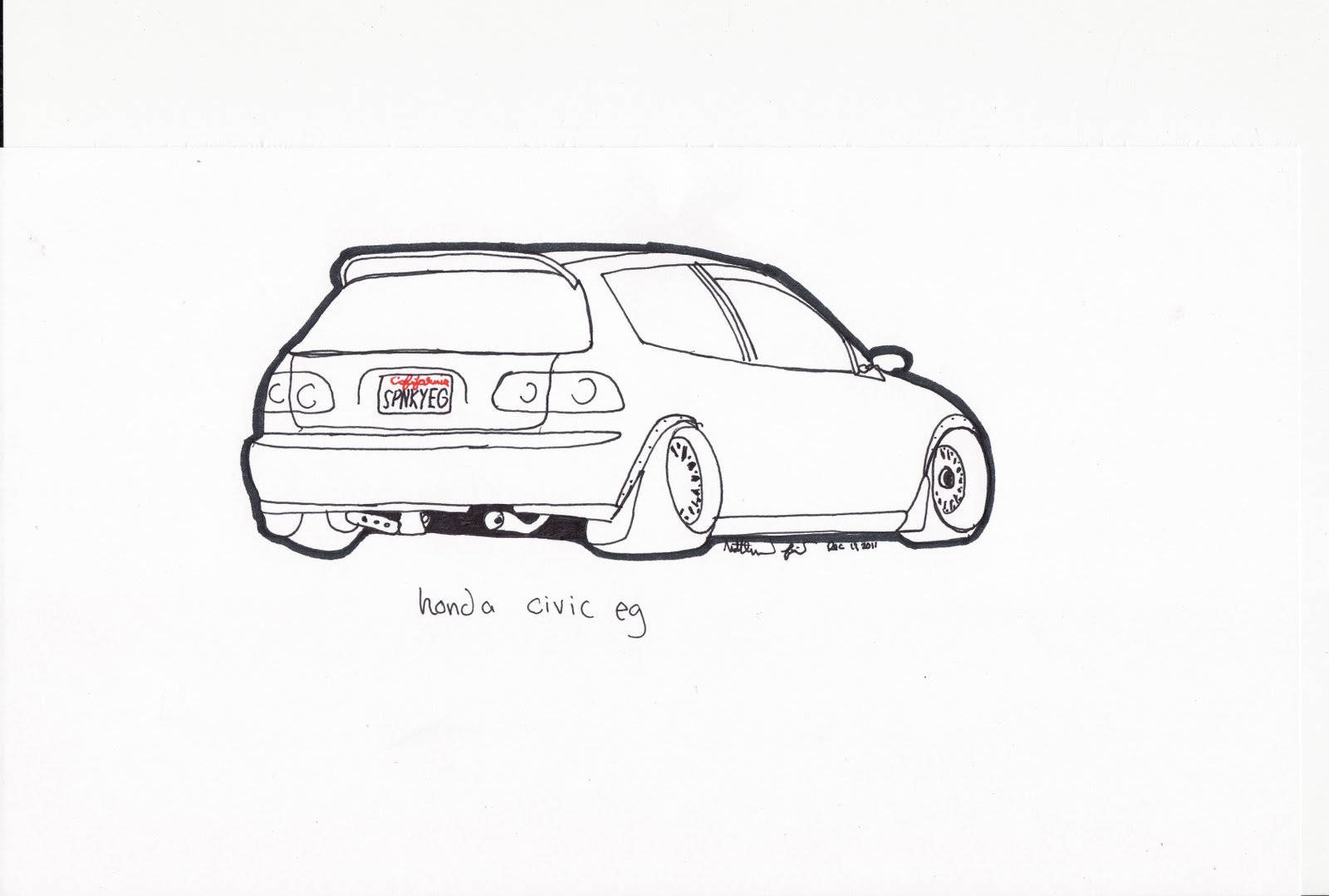 Honda Civic Pencil Drawings