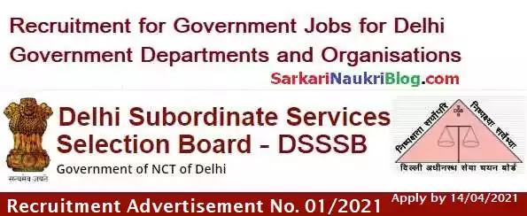 DSSSB Vacancy Recruitment 01/2021