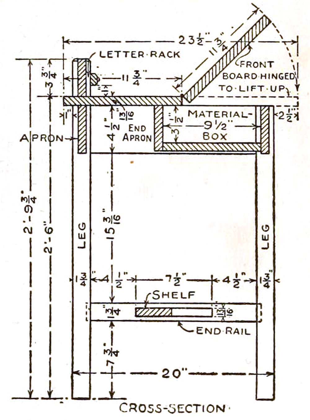 mission style writing desk plans how to build a mission writing desk cross section [ 1000 x 1356 Pixel ]