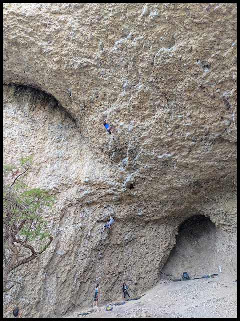 One of the many prepared rope climbing areas in Maple Canyon, this one is around a cave.