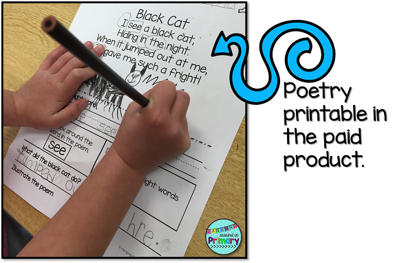 Provide independent practice with the poem by having students read the poem, identify the sight words and answering a comprehension question.