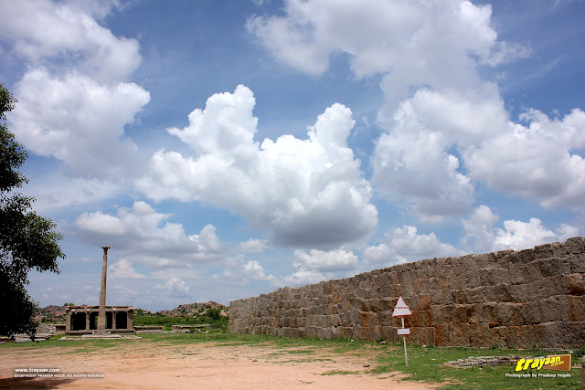 A view of Pan-supari bazaar, before Hazara Rama temple complex in Hampi, Ballari district, Karnataka, India