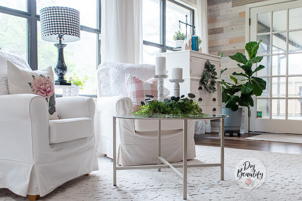 faux greenery in cottage style sunroom