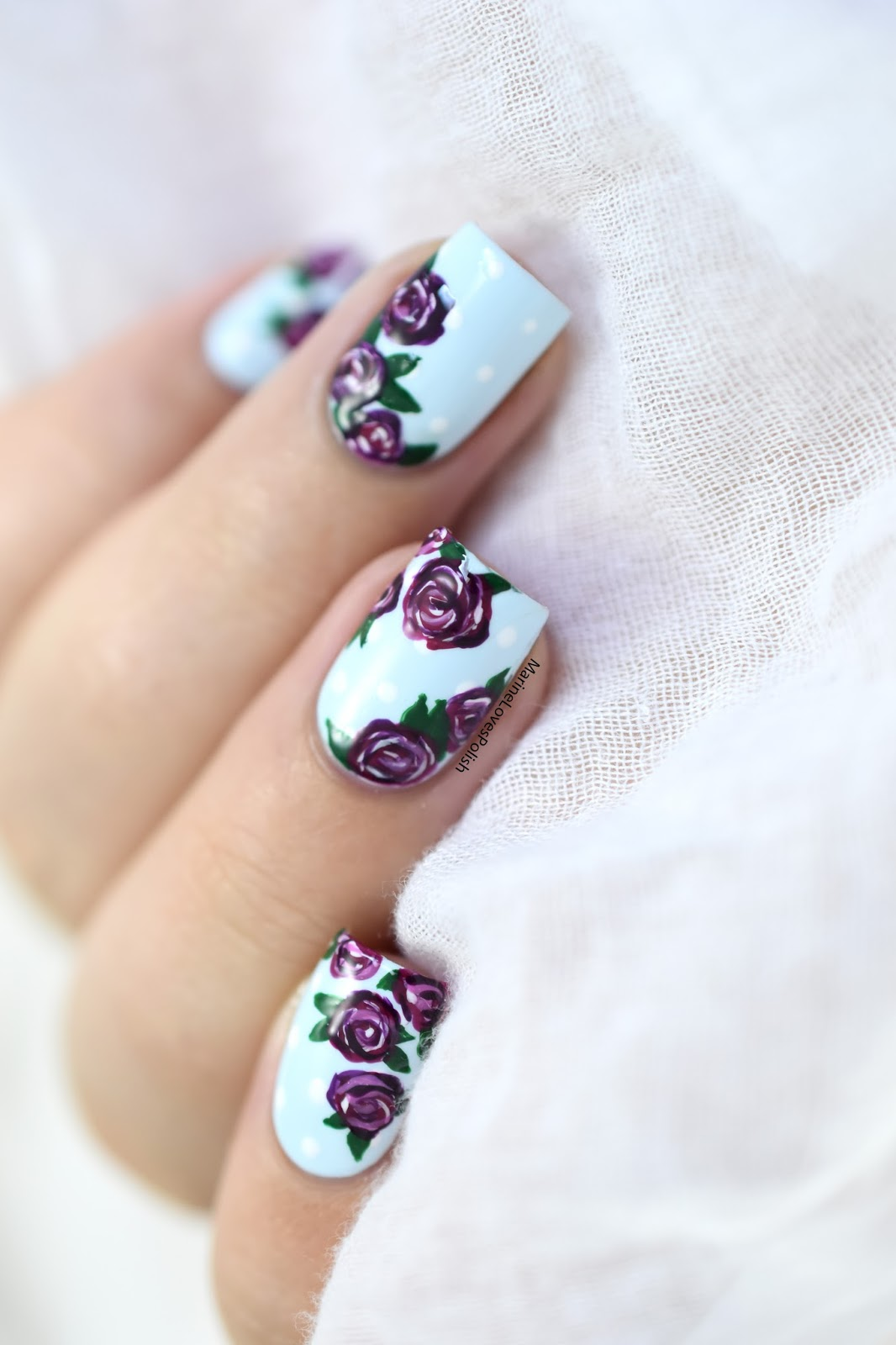 Easy Vintage Roses Nail Art - Maniswap with Paulina\'s Passions ...