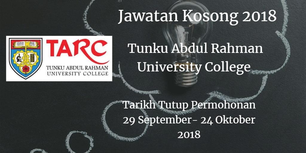 Jawatan Kosong TARUC 29 September - 24 Oktober 2018