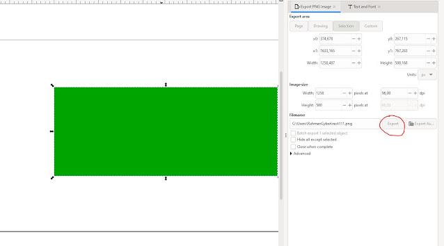 Export PNG di Inkscape 1.1