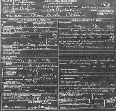 Claire Alexander Death Certificate