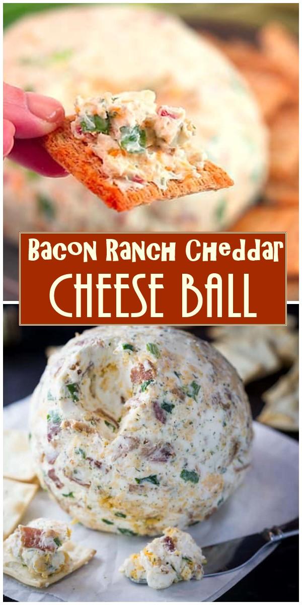 Bacon Ranch Cheddar Cheese Ball #appetizerrecipes