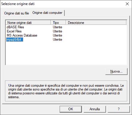Selezionare l'origine dati