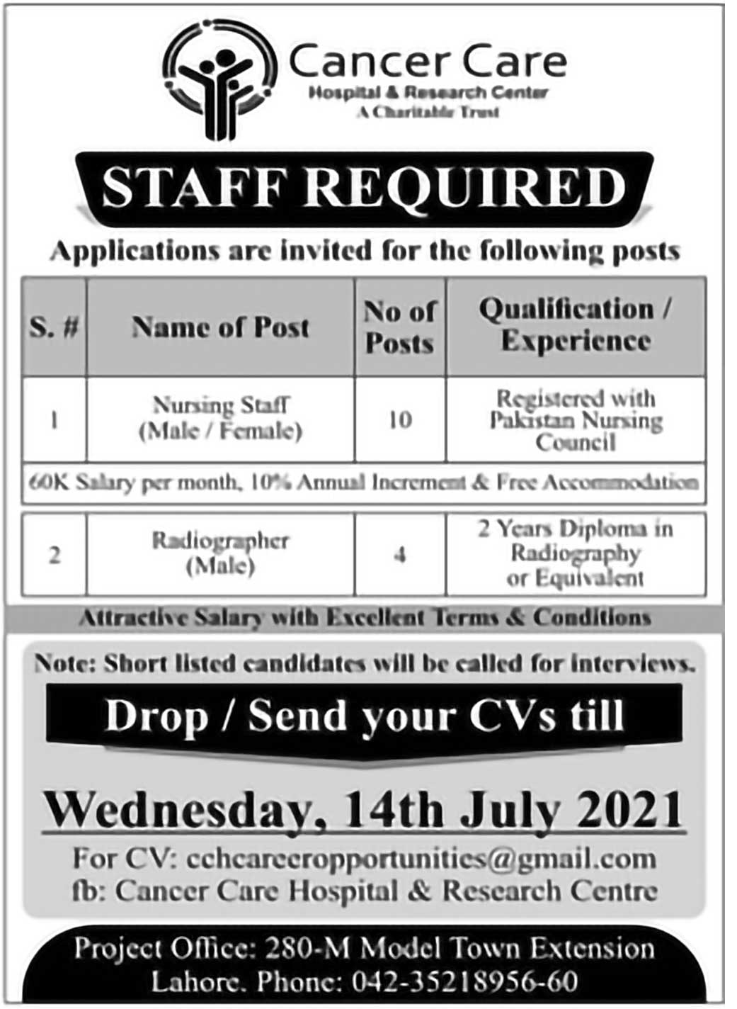 Jobs in Cancer Care Hospital and Research Centre
