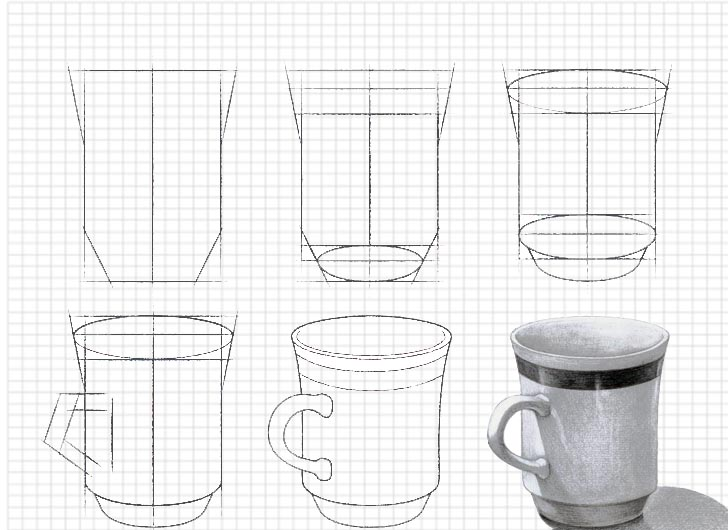 How to draw a cup step by step easy
