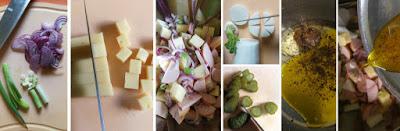 Zubereitung Bayerischer Käse-Wurst-Salat mit roten Zwiebeln, Gürkchen und Rettich