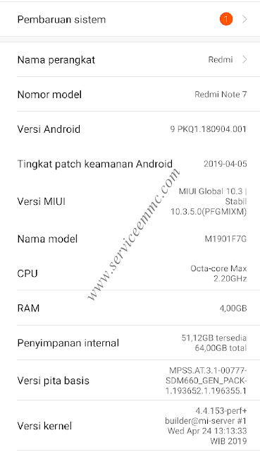Log Info eMMC/eMCP Redmi Note 7 Lavender