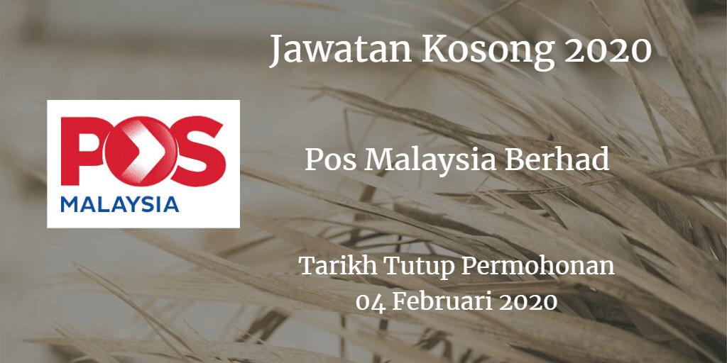 Jawatan Kosong Pos Malaysia Berhad 4 Februari 2020