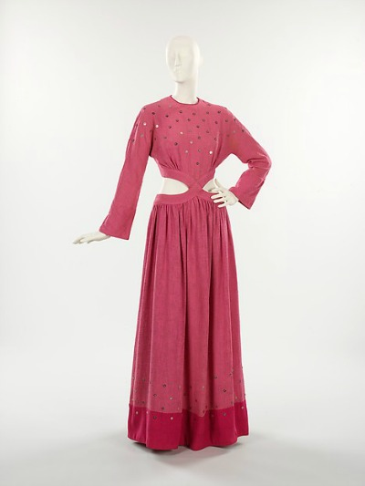 Red Bonnie Cashin Evening Dress displayed on mannequin