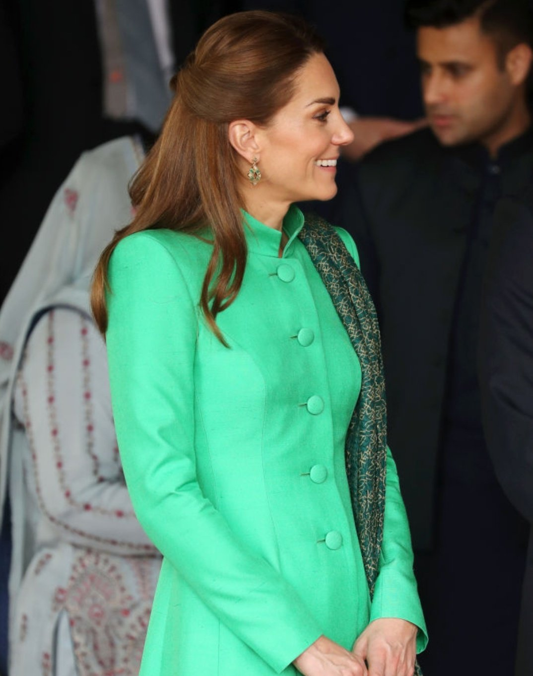 The Duchess of Cambridge is a regal sight in her Catherine Walker tunic