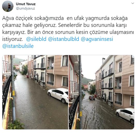 Beklenen Yağmur Ağva ve Civar Köylerini Olumsuz Etkiledi