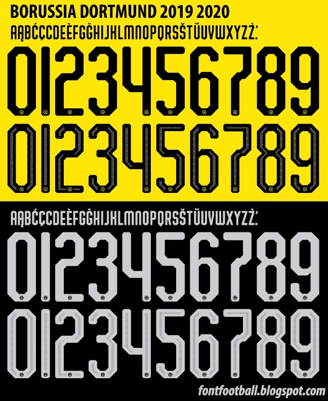 FONT FOOTBALL: Font Vector Dortmund 2019 2020 kit