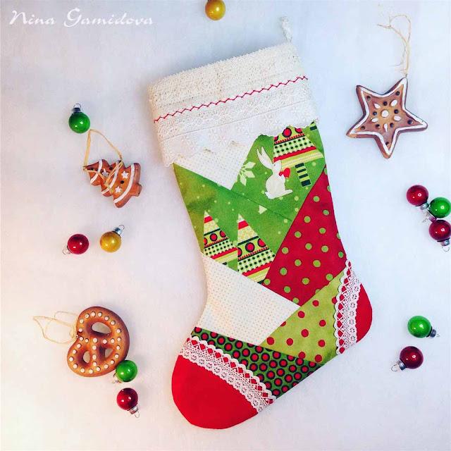 Рождественский сапожок. Сшит по мк О. Харитоновой