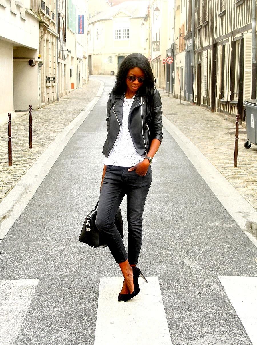 top-dentelle-promod-perfecto-cuir-mango-jeans-boyfriend-zara-escarpins-asos-sac-givenchy-antigona