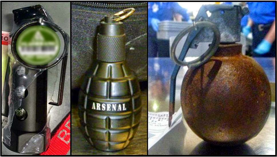 Replica Flash Bang Grenade Hot Sauce (MSY), Replica Cologne Grenade (LAR) and Inert Grenade (AUS).