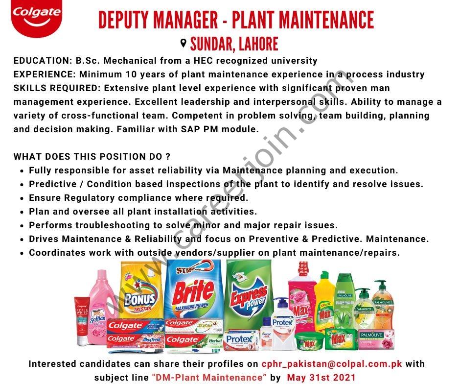 Latest Jobs in Colgate Palmolive Pakistan Ltd 2021 Deputy Manager - Apply via cphr_pakistan@colpal.com.pk_