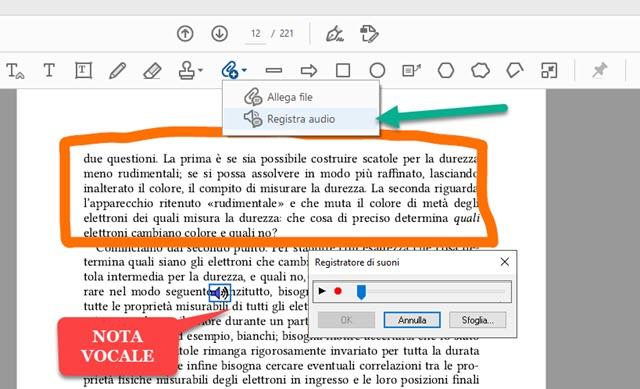 come aggiungere nota vocale nel PDF