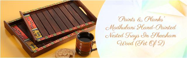ExclusiveLane Madhubani Wooden Serving Trays Inspired with Historic Art of Madhuban