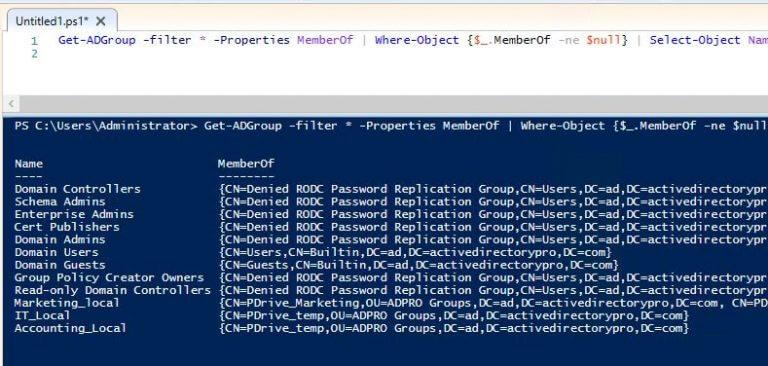 معرفة المجموعات المتداخلة في الدليل النشط Active Directory