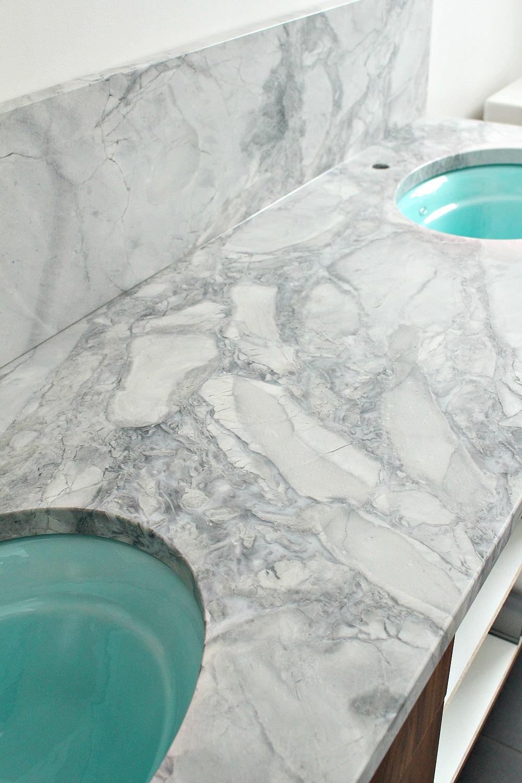 Bathroom Update Quartzite Counter And Aqua Sinks Dans