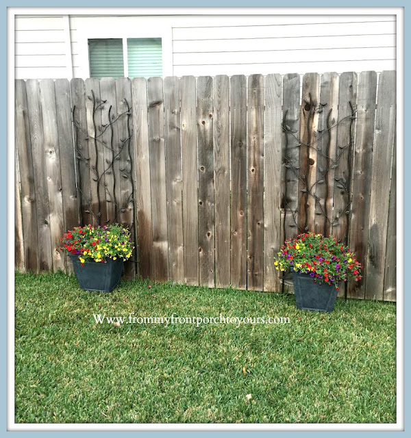 Front- Yard- Garden-Trellis-Flowers-Large Planters--From My Front Porch To Yours