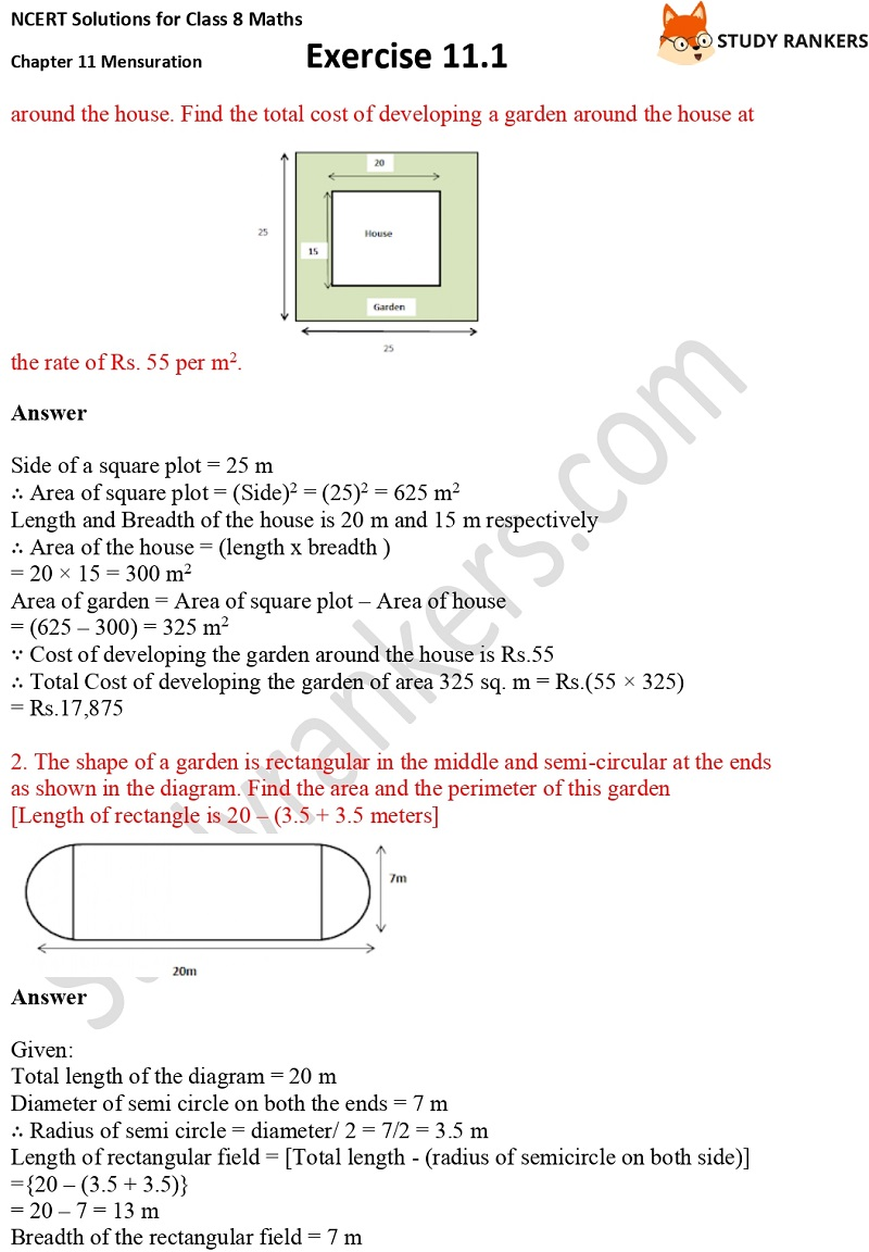 NCERT Solutions for Class 8 Maths Ch 11 Mensuration Exercise 11.1 2