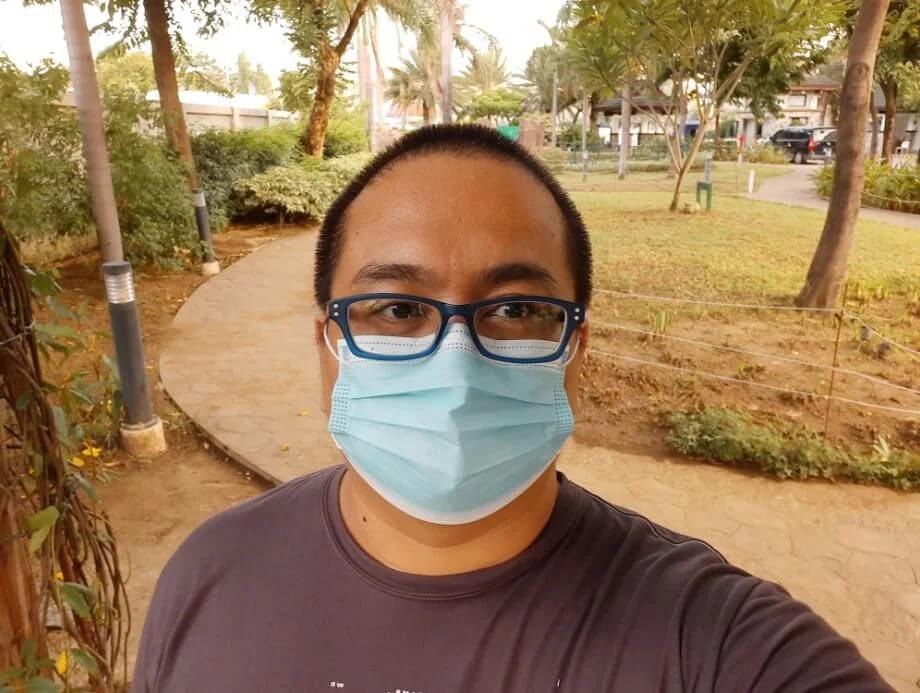 Samsung Galaxy M31 Camera Sample - Selfie with Mask, Wide