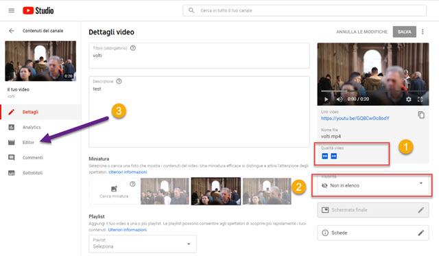 schermata di youtube video