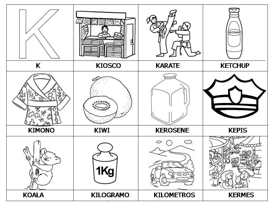 """Dibujos Para Colorear Letra Q: Palabras Con """"K"""" Con Imágenes Y Dibujos Para Imprimir"""