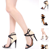 Black Open Toe Single Soles Heels Faux Leather