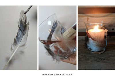 chicken feather candle craft