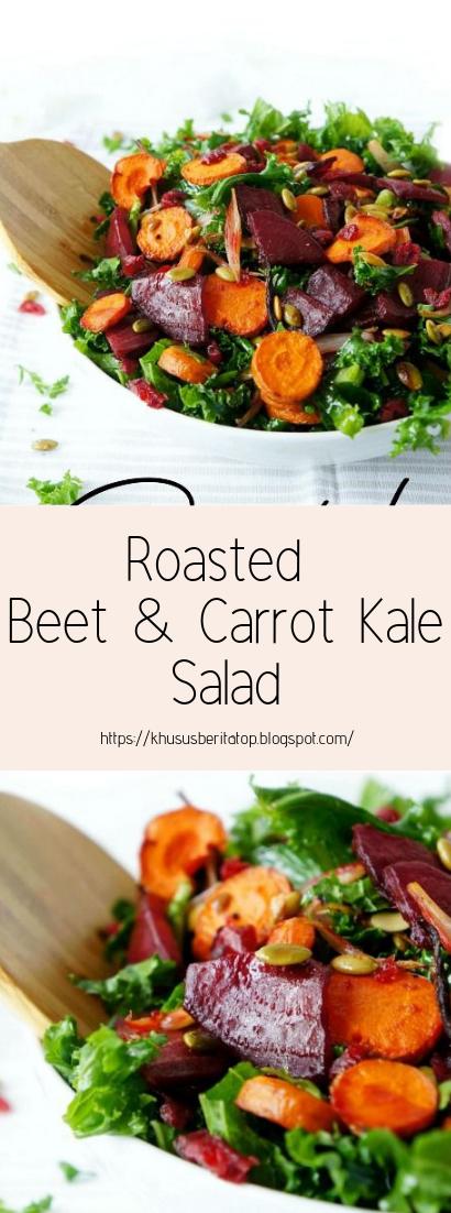 Roasted Beet & Carrot Kale Salad #vegan #recipevegetarian