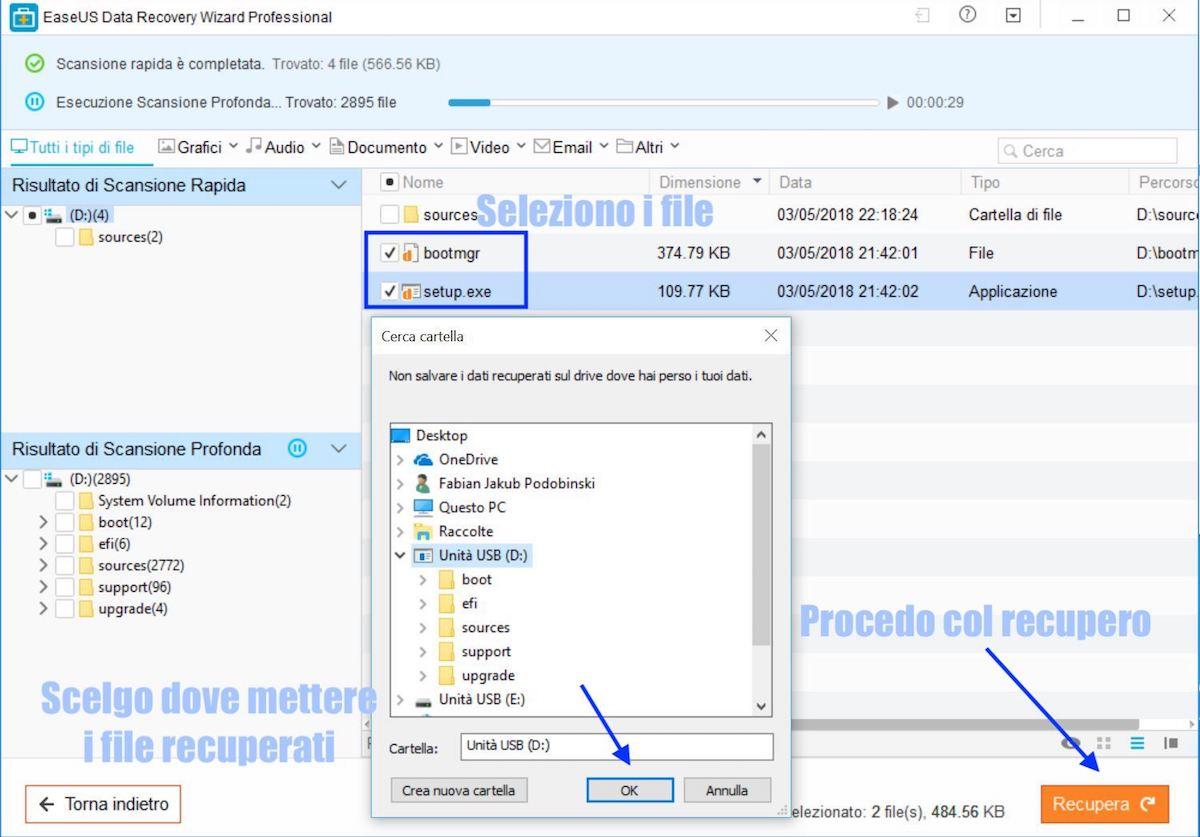trovare file cancellati da pendrive usb con easeus data recovery wizard