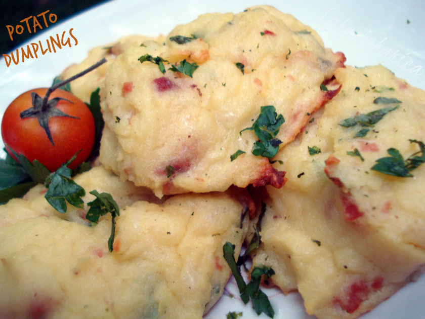 Potato dumplings with ham and herbs by Laka kuharica: prefect side dish  or a light meal.