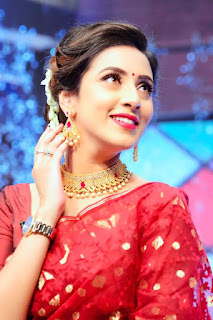 Bidya Sinha Saha Mim Selife Strong Mood In Red Saree