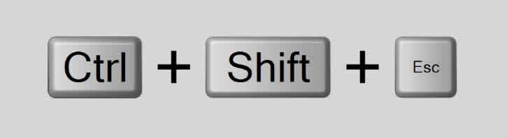 Atalho CTRL + SHIFT + ESC abre o gerenciador de tarefas