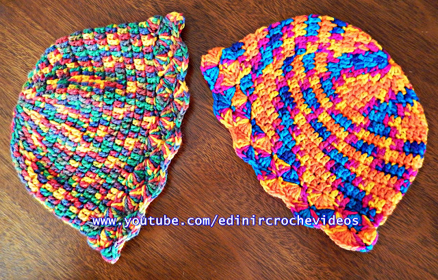 Gorro ou Touca de Crochê Modelo Chapéu - passo a passo edinir croche no curso de croche passo a passo.