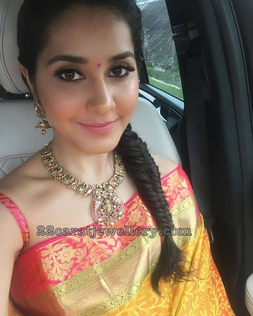 Rashi Khanna Peacock Mango Necklace