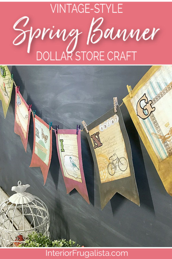 A DIY Vintage-Style Spring Banner easy dollar store craft perfect for a simple Spring paper garland to hang on a fireplace, mirror, or chalkboard. #springbannerideas #springgarlandideas #dollarstorecrafts #springcrafts