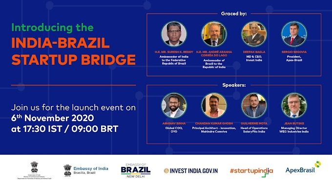 Internacional: India-Brazil Startup Bridge to be launched on 6th November 2020