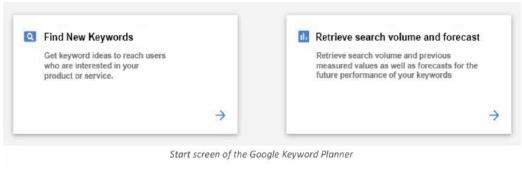 start screen of the google keyword planner
