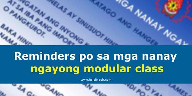 Reminders po sa mga nanay ngayong modular class